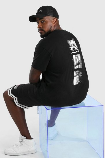 Black Big & Tall New York Back Print T-Shirt