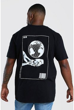 Black Big & Tall Globe Back Print T-Shirt