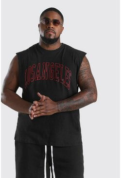 Big And Tall Los Angeles Front Print Tank, Black