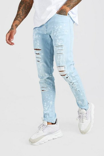 Ice blue Skinny Ripped Jeans With Bleached Effect