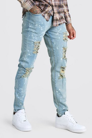 Blue Skinny Ripped Jeans With Bleach Effect