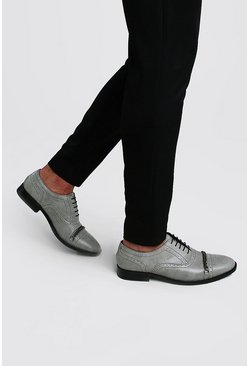 Grey Gunmetal Chain Detail Brogue