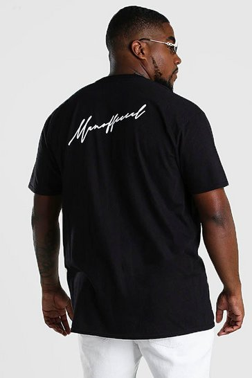 Black Big And Tall MAN Official Script T-Shirt