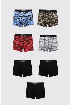 Lot de 7 boxers mi-longs camouflage mélangé MAN Dash, Multi