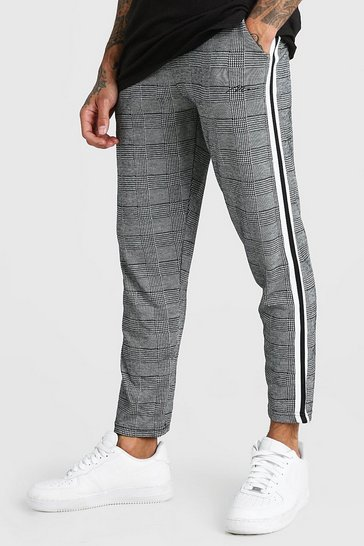 Grey MAN Signature Cropped Jacquard Tape Detail Jogger