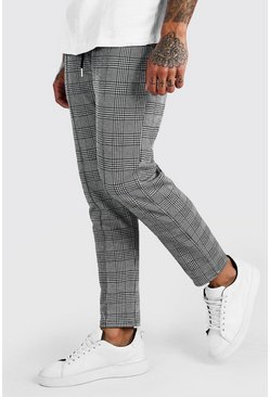 Grey Cropped Jacquard Check Pintuck Jogger