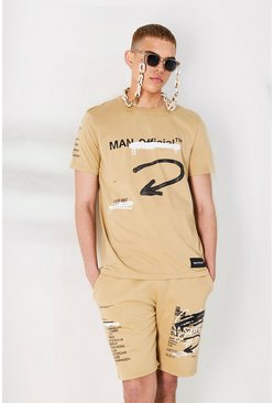 Sand MAN Official Graffiti Print T-Shirt & Short Set