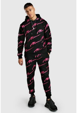 Black Pink All Over MAN Print Hooded Tracksuit