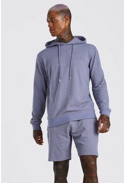 Light blue MAN Signature Pique Hooded Short Tracksuit