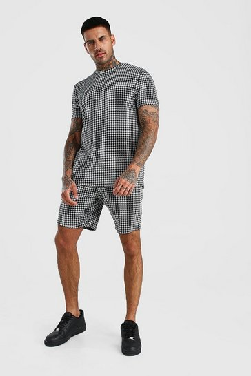 Black MAN Signature Houndstooth T-Shirt & Short Set