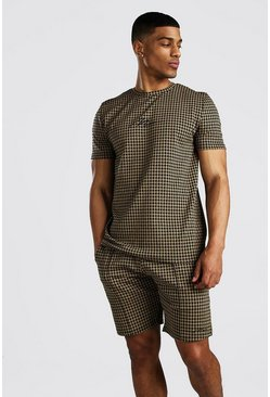Brown MAN Signature Houndstooth T-Shirt & Short Set
