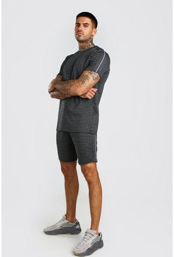 Dark grey Houndstooth Check T-Shirt & Short Set With Tape