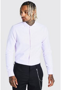 Pink Long Sleeve Cut-Away Collar Formal Shirt