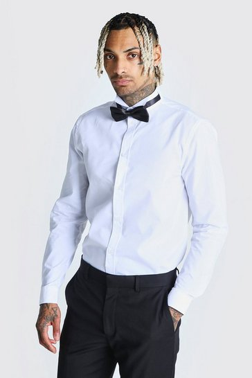 White Long Sleeve Wing Collar Prom Tuxedo Shirt