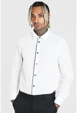 White Long Sleeve Contrast Buttons Formal Shirt