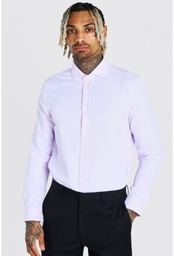 Pink Muscle Fit Long Sleeve Cutaway Collar Formal Shirt