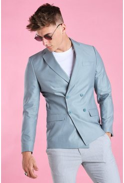Blue Skinny Plain Double Breasted Suit Jacket