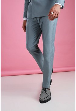 Blue Skinny Plain Suit Pants