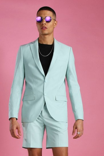 Mint Skinny Plain Suit Jacket