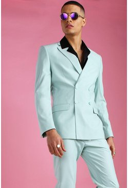 Mint Skinny Plain Double Breasted Suit Jacket