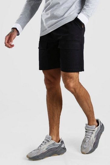 Black Twill Front Pocket Cargo Short