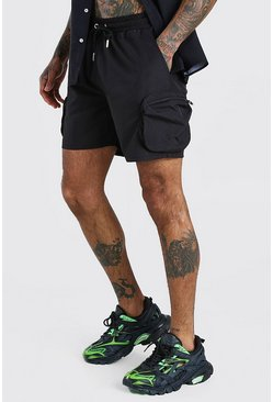 Shorts cargo de nailon, Negro