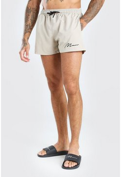 Taupe MAN Signature Short Length Swim Shorts