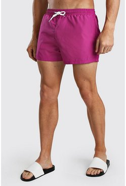 Fuchsia Plain Mid Length Swim Short
