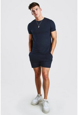 Navy Smart T-Shirt & Pintuck Short Set