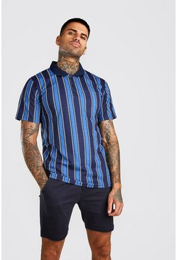 Blue Vertical Stripe Polo