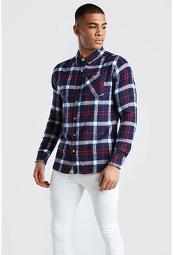 Navy Long Sleeve Check Shirt