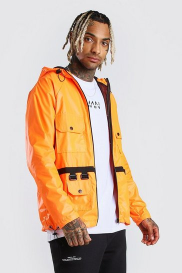 Orange Utility Lightweight Hooded Field Jacket