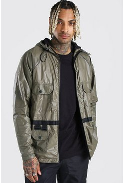 Khaki Utility Lightweight Hooded Field Jacket