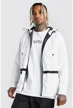 White Utility Lightweight Hooded Field Jacket