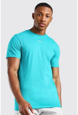 Teal MAN Signature Neck Print T-Shirt