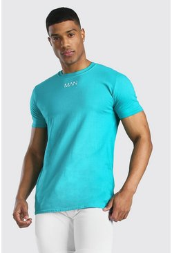 Teal Original MAN Neck Print T-Shirt