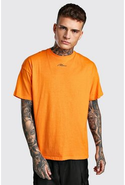 Oversized MAN Signature Neck Print T-Shirt, Orange