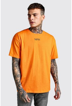 Orange Oversized Original MAN Neck Print T-Shirt
