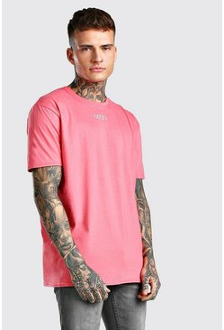 Coral Oversized Original MAN Neck Print T-Shirt