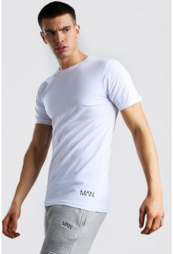 White Original MAN Hem Print T-Shirt