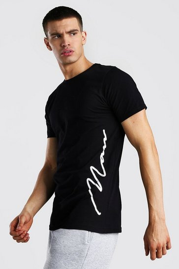 Black MAN Signature Side Print T-Shirt