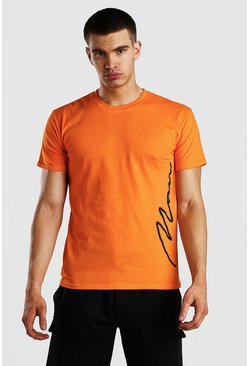 Orange MAN Signature Side Print T-Shirt