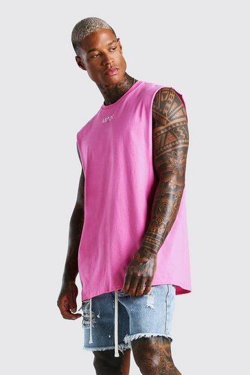 Pink Oversized Original MAN Neck Print Drop Armhole Tank
