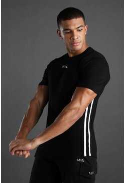 Black MAN Active T-Shirt With Curved Hem & Side Stripes
