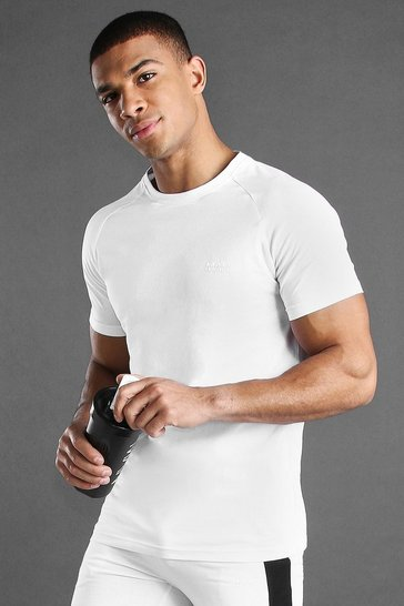 White MAN Active Muscle Fit Raglan T-Shirt
