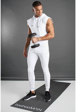 White MAN Active Sleeveless Hooded Tracksuit