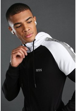 Black MAN Active Full Zip Through Short Set
