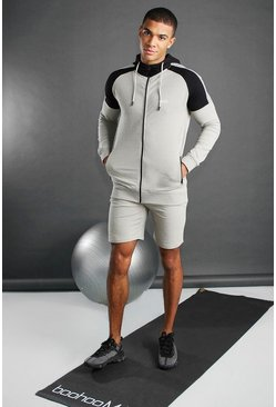Stone MAN Active Full Zip Through Short Set