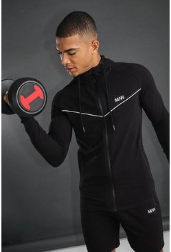 Black MAN Active Hooded Short Set With Piping