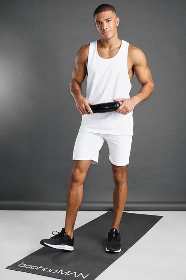 White MAN Active Vest And Short Set